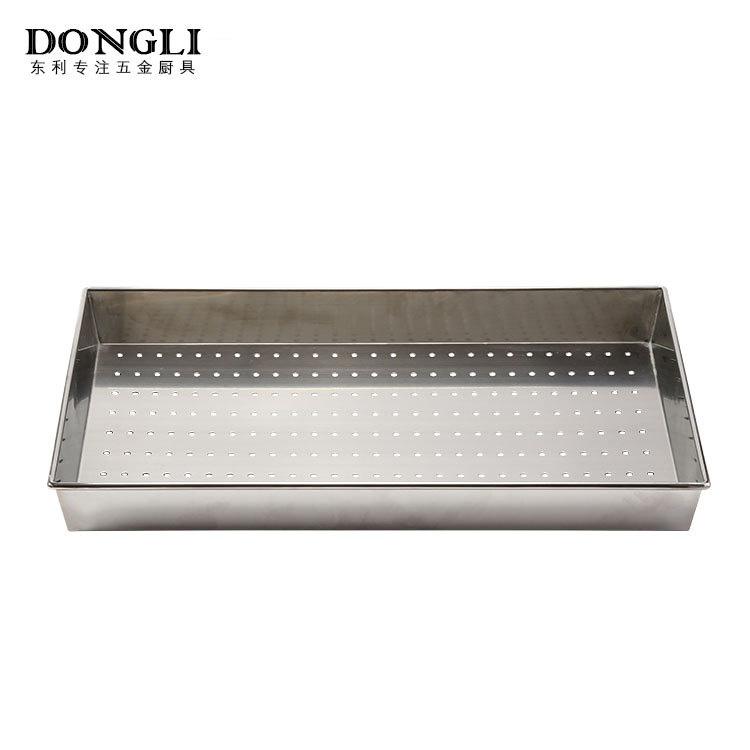 厨房冲孔饭盘 双拉手设计防烫手圆盘厂家直销批发 不锈钢方盘