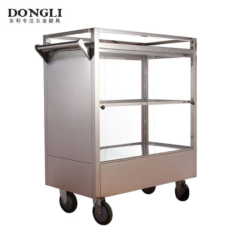 广式特色早茶不锈钢点心车 茶楼烧卖点心手推车 厨房设备生产厂家