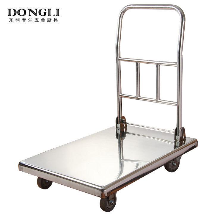 不锈钢可折叠平板车 高承重耐用手推车 厨房仓库货物搬运车批发