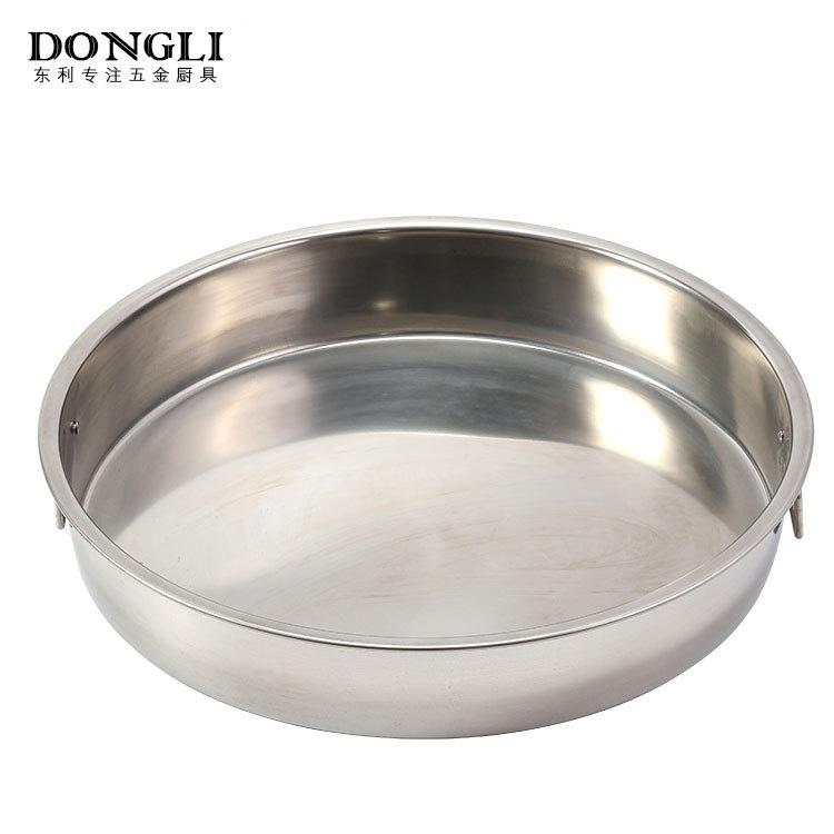 不锈钢圆盘 厨房食物容器 双拉手设计防烫手圆盘厂家直销批发